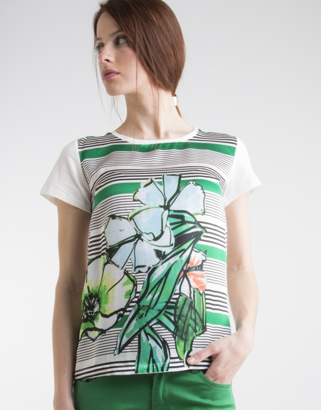 Green print top with fantasia