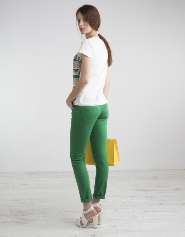 T-shirt vert imprimé fantaisie