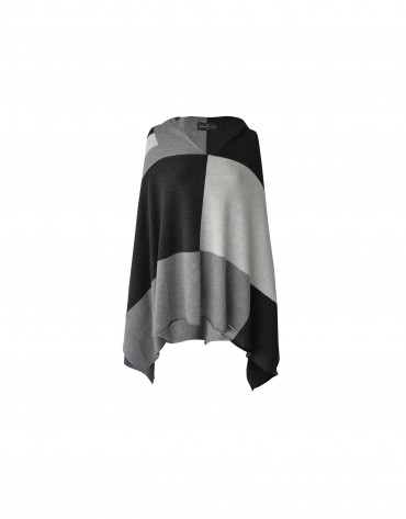 Grey, black and white cape
