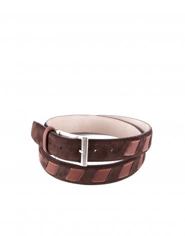 Cinturón combinado ante piel marrón