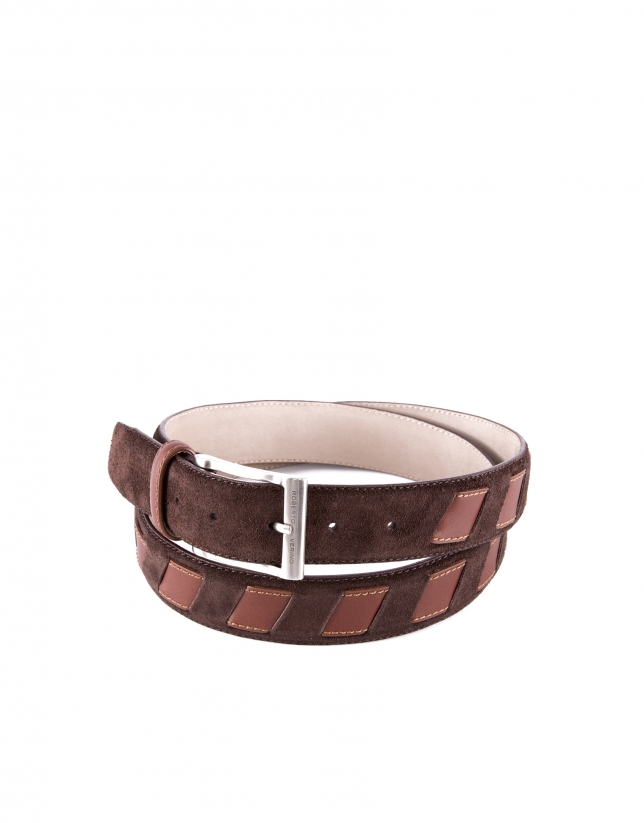 Brown combination leather and suede belt