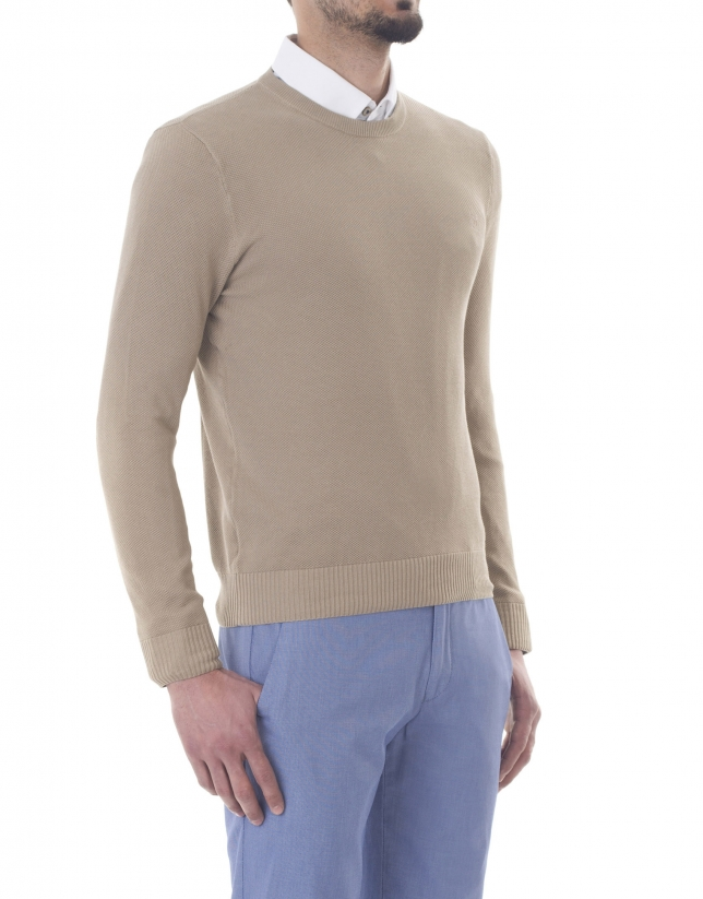 Beige Structured box neck sweater
