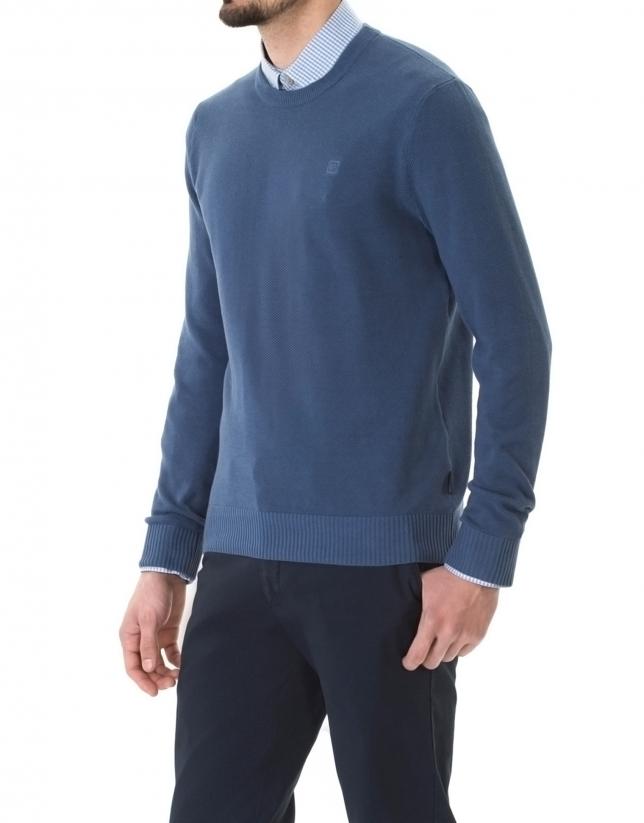 Pull bleu structuré, encolure ronde