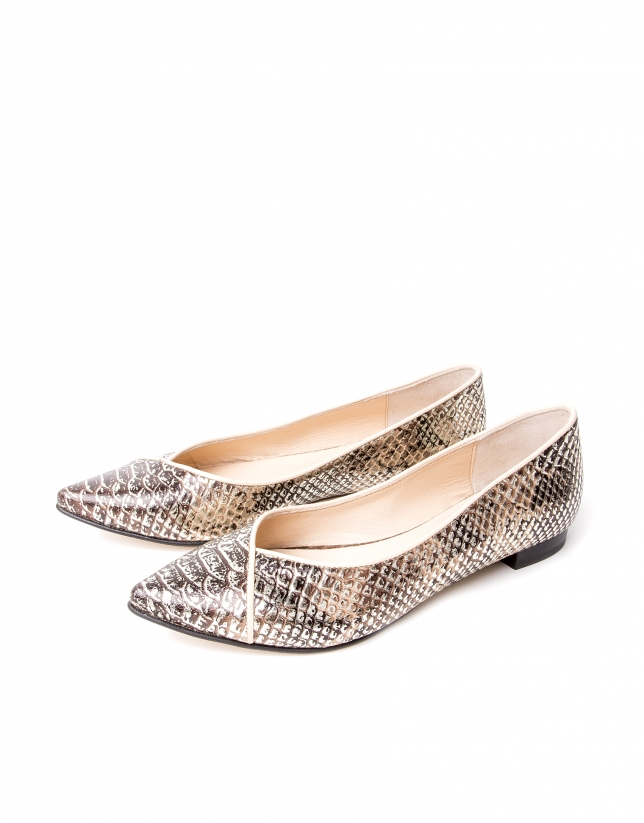 Embossed python leather ballerinas