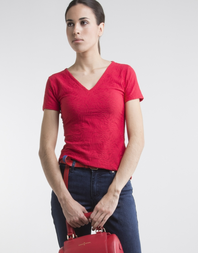 Red top with V neck