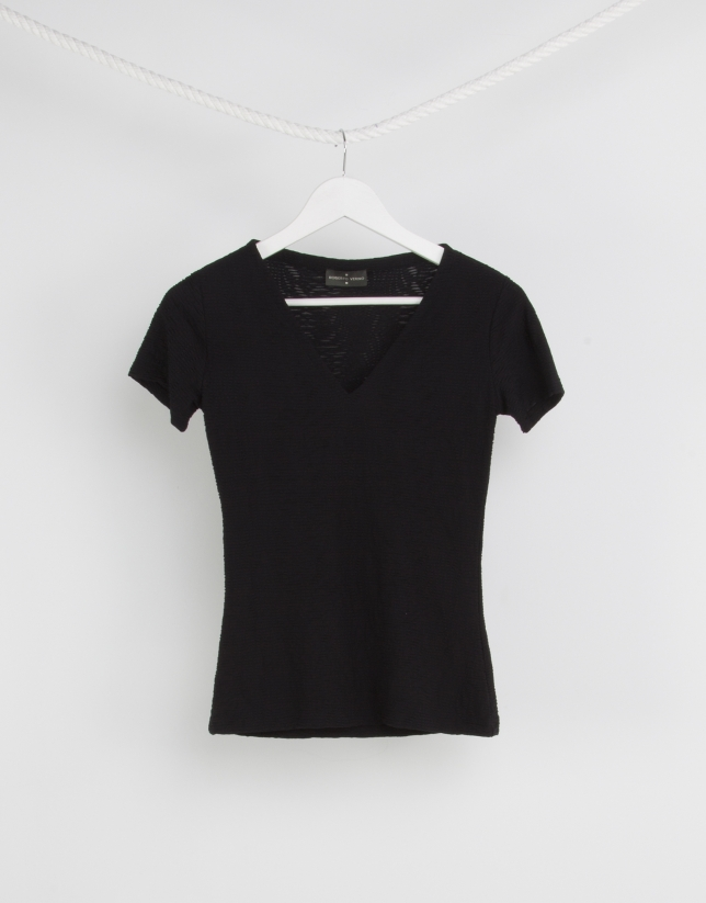 Black top with V neck