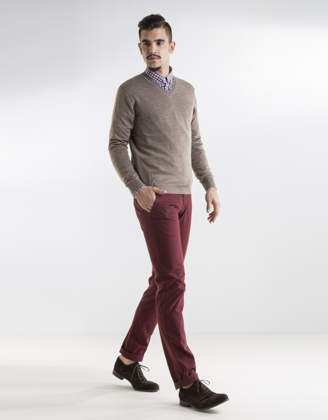 Taupe basic knit sweater