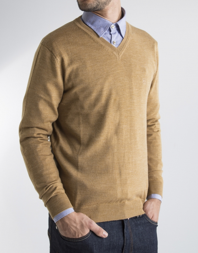Pull maille classique moutarde