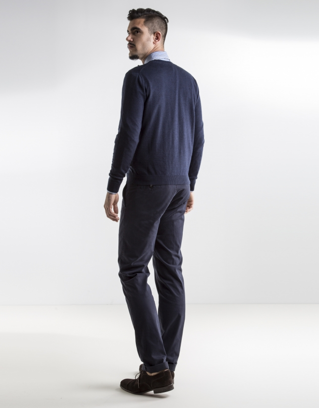 Navy blue basic knit sweater