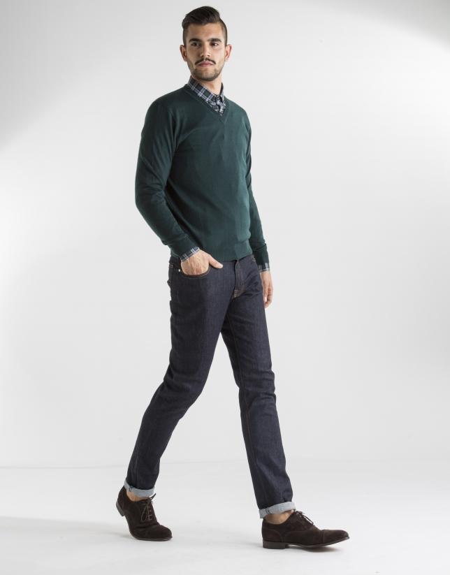 Dark green basic knit sweater