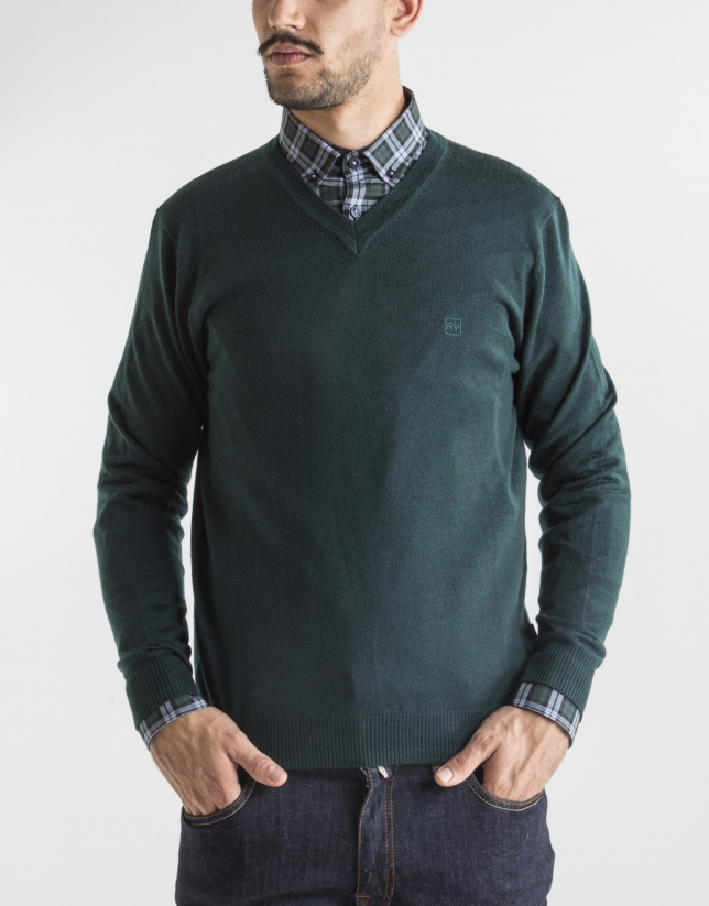Dark green basic knit sweater