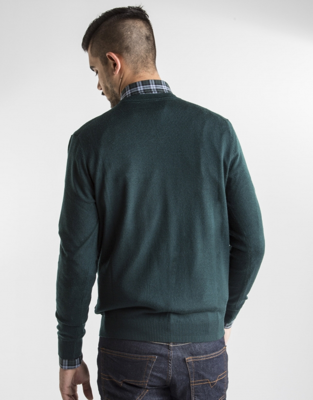 Jersey punto básico verde oscuro