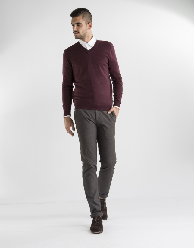 Burgundy basic knit sweater