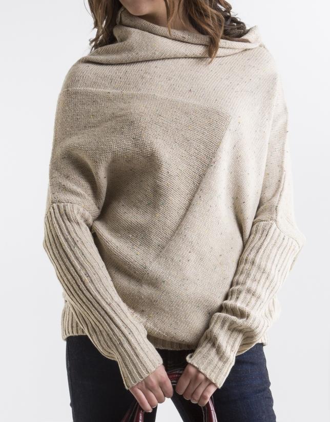 Long beige asymmetric sweater