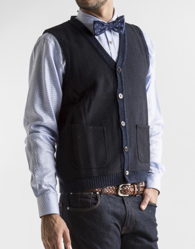 Gilet tricot bleu