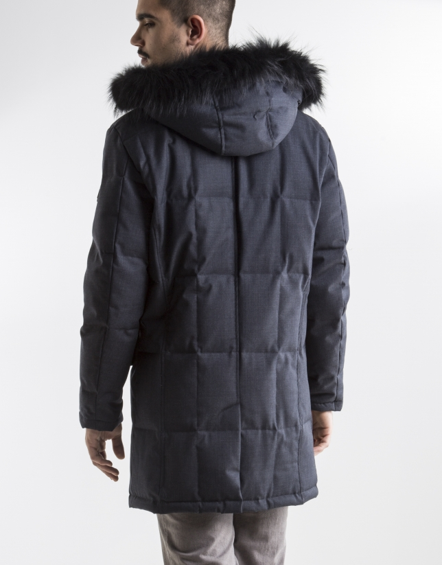 Long dark blue anorak