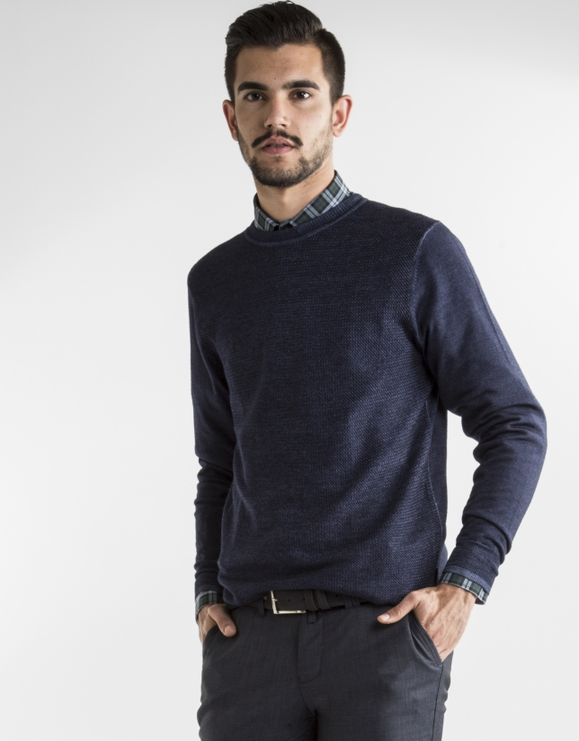 Dark blue structured square neck sweater