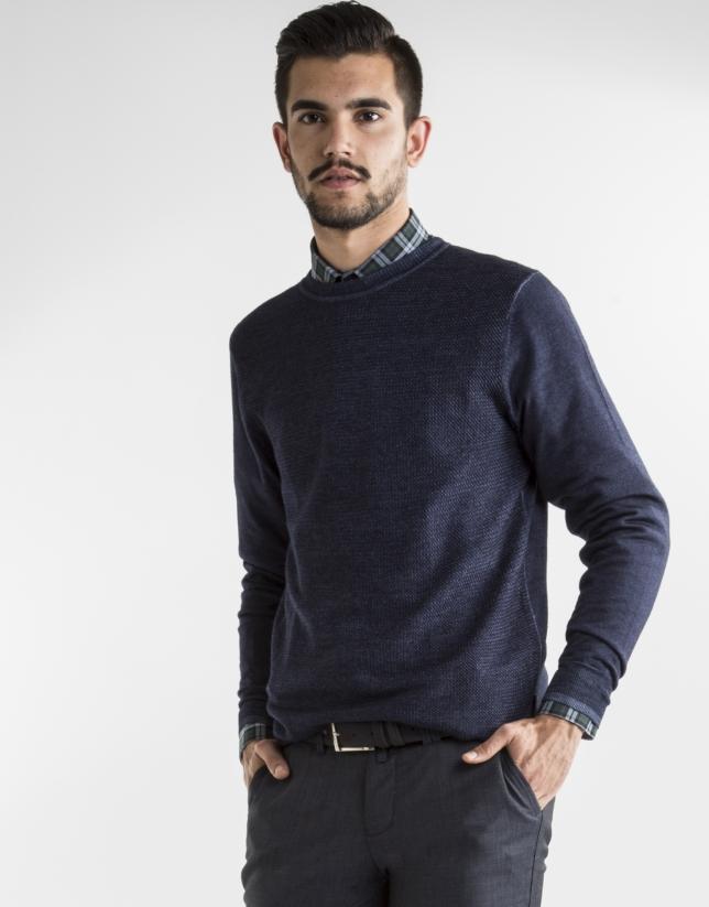 Jersey cuello caja estructura azul oscuro