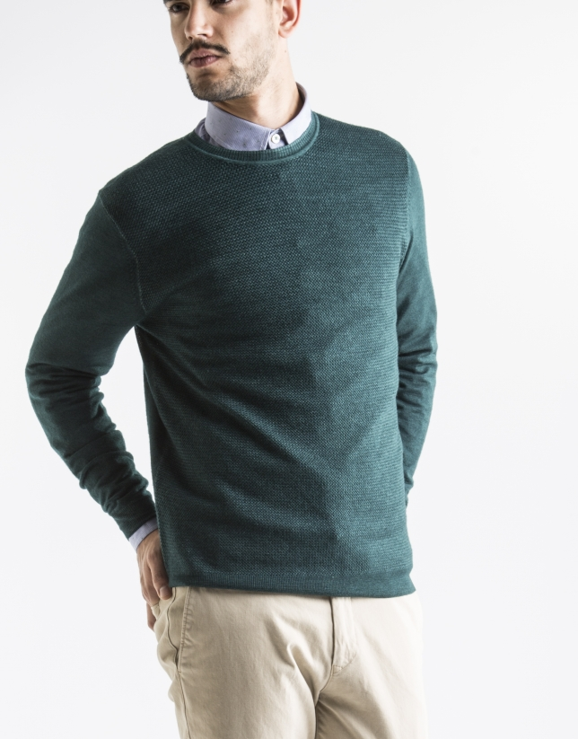 Green structured square neck sweater