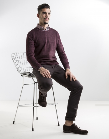 Burgundy structured square neck sweater