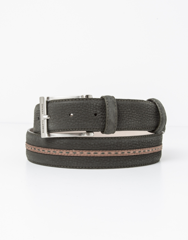 Leather belt with brown contrasting strip