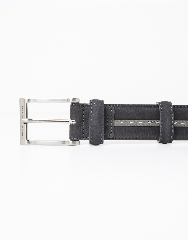 Leather belt with grey contrasting strip