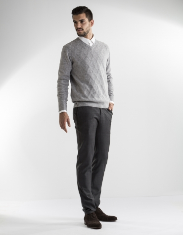 grey diamond v-neck sweater