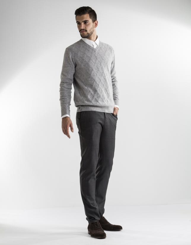 grey diamond v-neck sweater