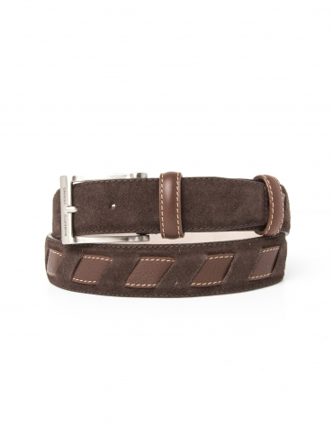 Nappa belt with contrasting strip