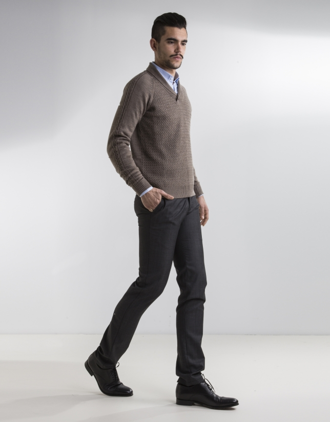 Taupe shawl neck sweater