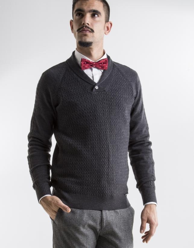 grey shawl neck sweater