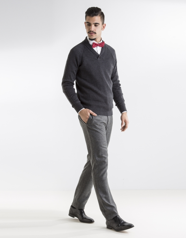 grey shawl neck sweater