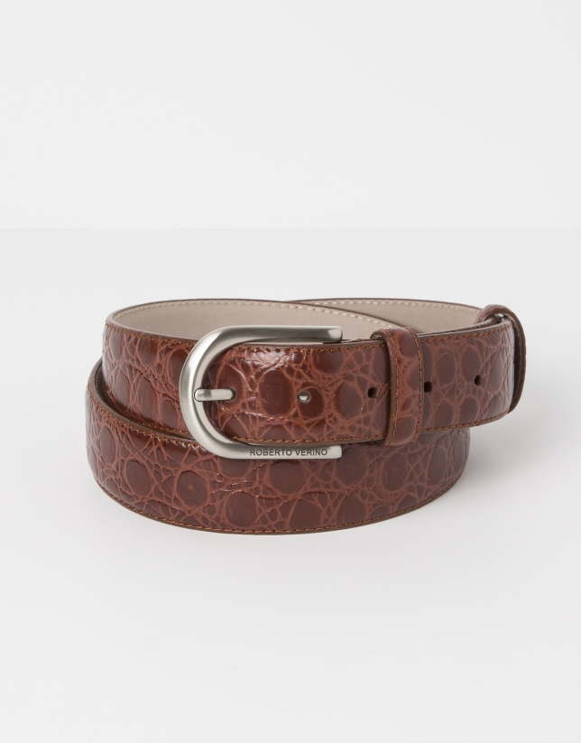 Cowhide leather alligator embossed brown belt