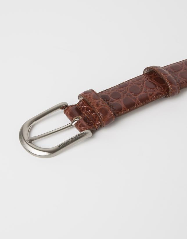 Cinturon piel grabada cocodrilo