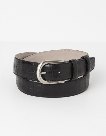 Cowhide leather alligator embossed black belt