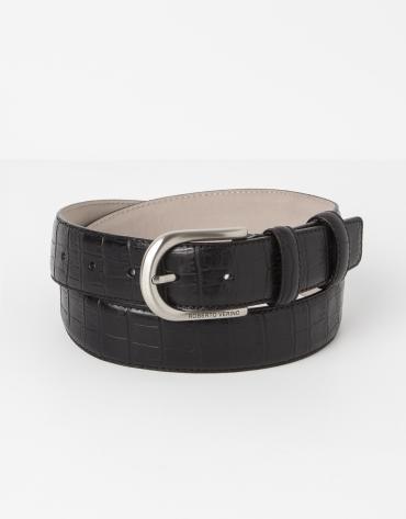 Cowhide leather alligator embossed black belt