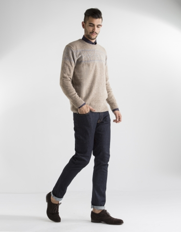 Beige jacquard sweater