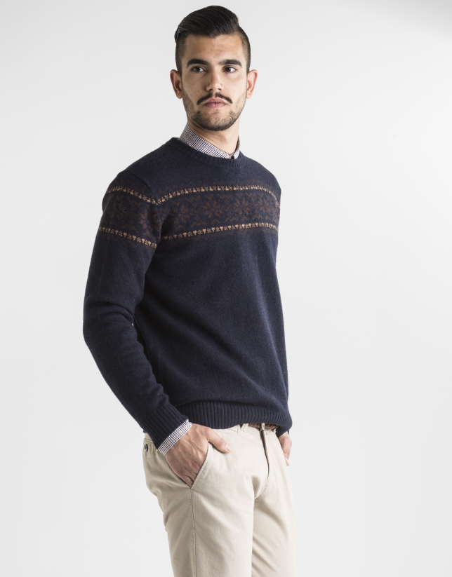 Navy blue jacquard sweater