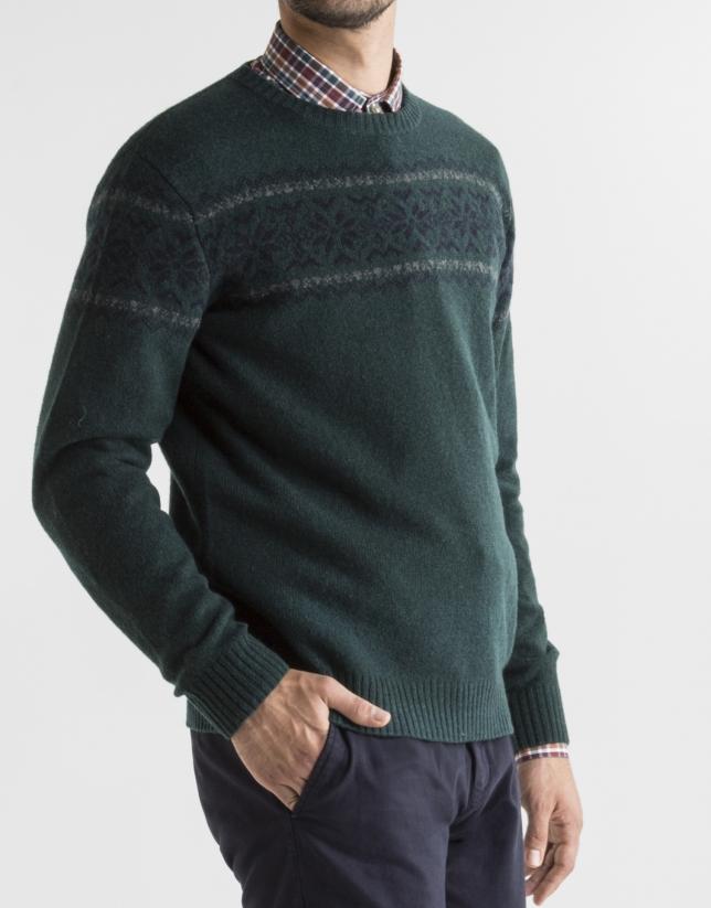 Green jacquard sweater