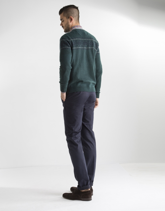 Green jacquard sweater