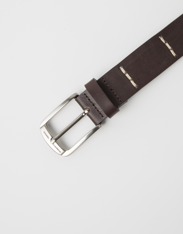 Brown belt with cuts
