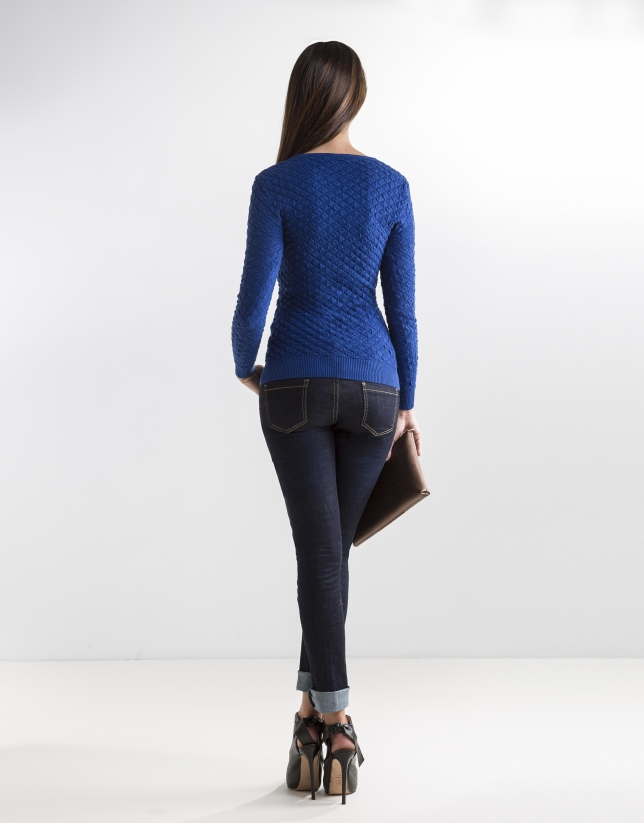 Blue knit sweater