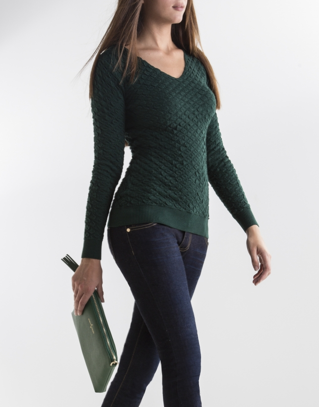 Green knit sweater