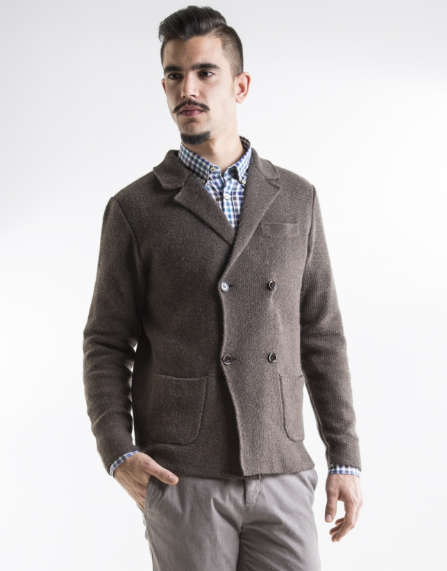 Brown double-breasted jacket