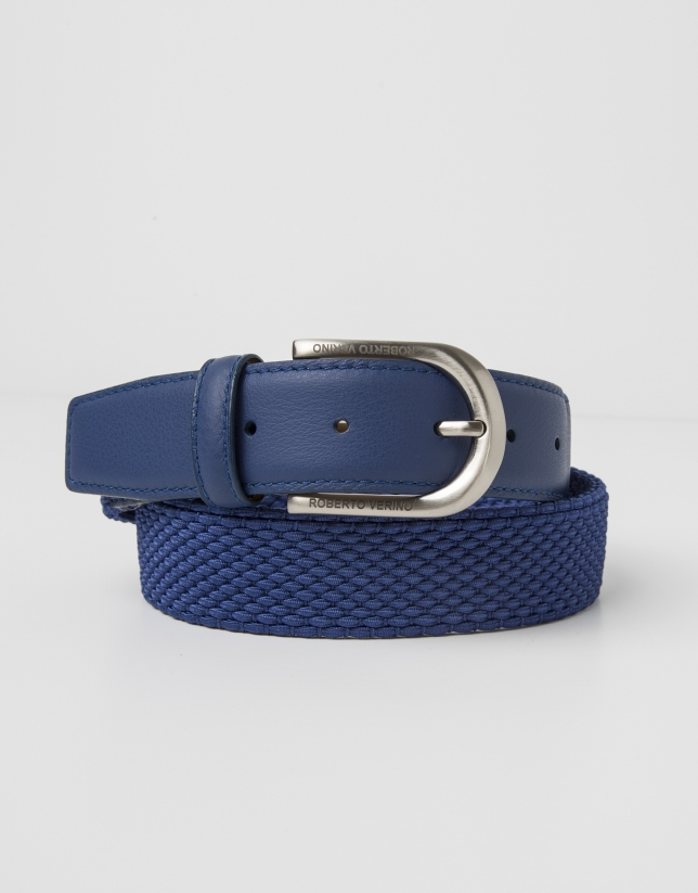 Indigo blue leather and cotton belt