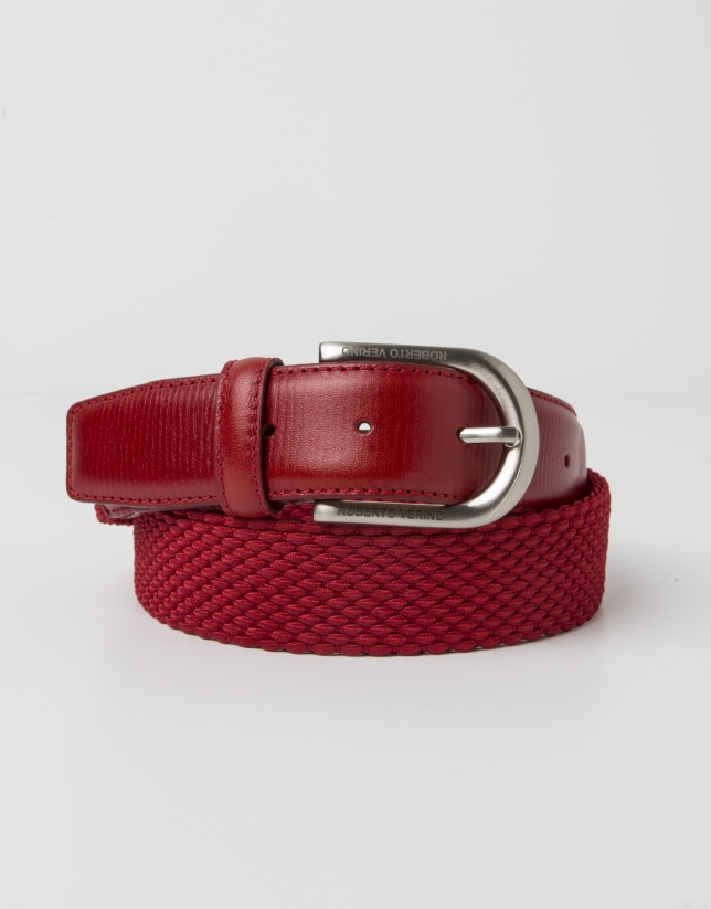 Red leather and cotton belt