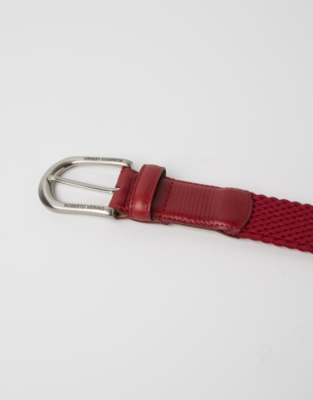 Cinturón piel y algodón rojo