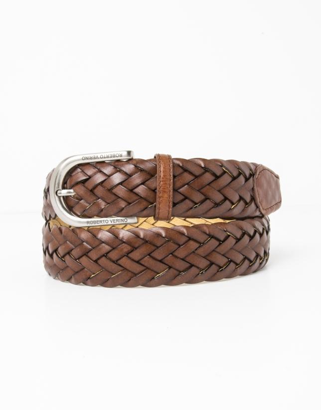 Cinturón trenzado piel marrón