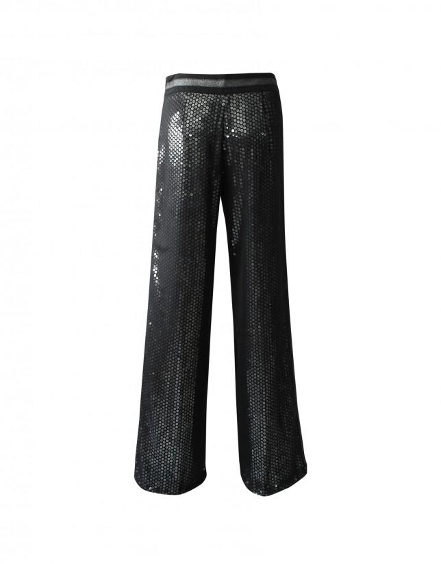 Pantalón lentejuelas ancho negro