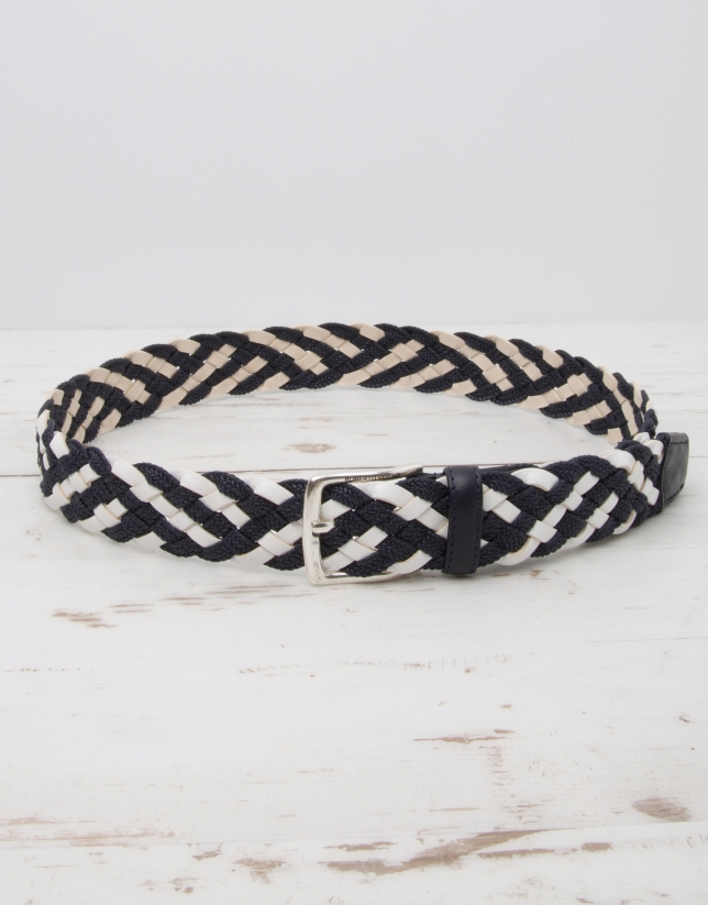 Cotton/leather braided belt